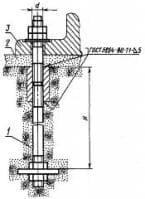 При установке составных фундаментных болтов ГОСТ 24379.1-80 нижняя шпилька устанавливается до бетонирования