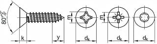 DIN 7982 иГОСТ 10619-80 саморезы спотайной головкой