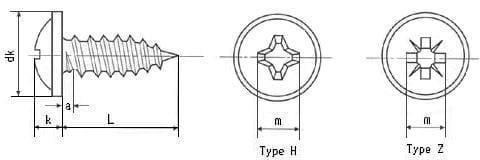 DIN 968 Шуруп саморез с полукруглой головкой с буртиком и крестообразным шлицем для листового металла