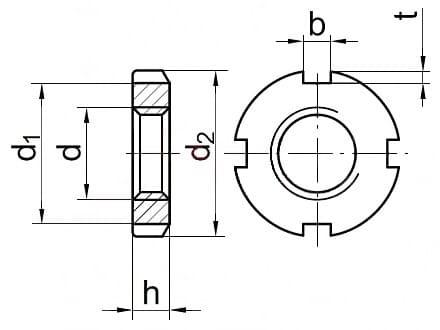Гайка круглая шлицевая DIN 981