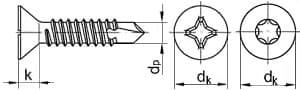 Саморез-сверло по металлу DIN 7504 P (JP82), размеры от 2.9 до 6.3 мм