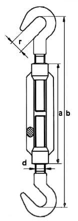DIN 1480 Талрепы крюк-крюк, размеры от 5 до 36 мм, продажа по оптовым ценам