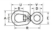 Вертлюги петля-кільце, розміри від 6 до 20 мм
